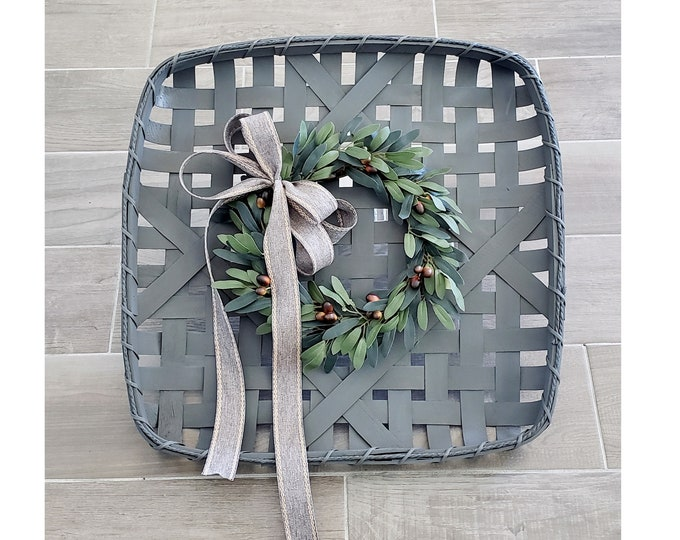 Gray Wash Painted Tobacco Basket Wreath with Olive Wreath.