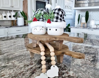 Set of 2 Round Recycled Wood Cutting Board Risers in Natural Wood. Wood Riser. Wood Stand. Wood Pedestal. Wood Tray. Farmhouse. Distressed.