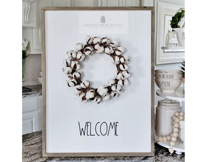 "Large White Wash Wood Wall Decor with artificial Cotton Wreath & Hand-Painted ""Welcome"" Sign."