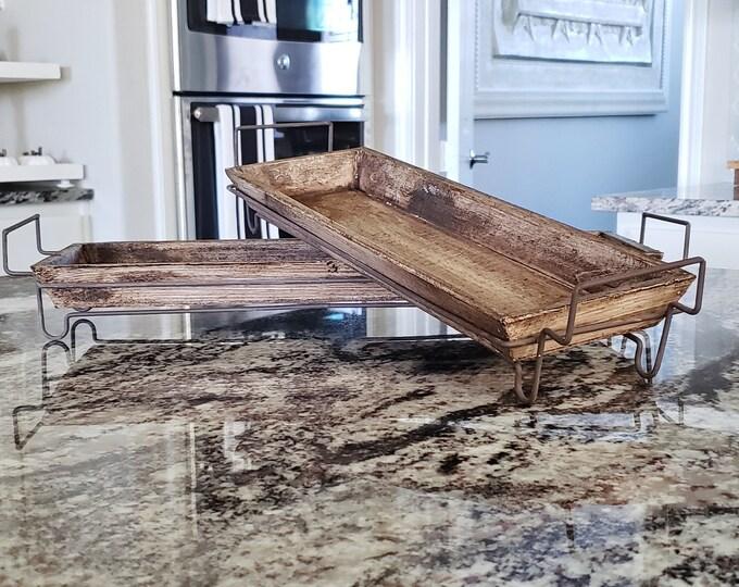 Wood & Metal Tray Riser. Wood Riser. Wood Stand. Wood Pedestal. Wood Tray. Farmhouse Tray. Rae Dunn.