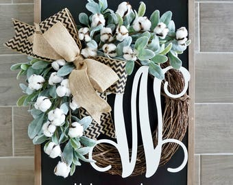 Cotton & Lambs Ear Grapevine Wreath