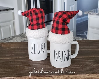 Set of 2 Red & Black Buffalo Plaid Santa Hats for Rae Dun Espresso Mug. Farmhouse Decor. Buffalo Check Hat. Santa .