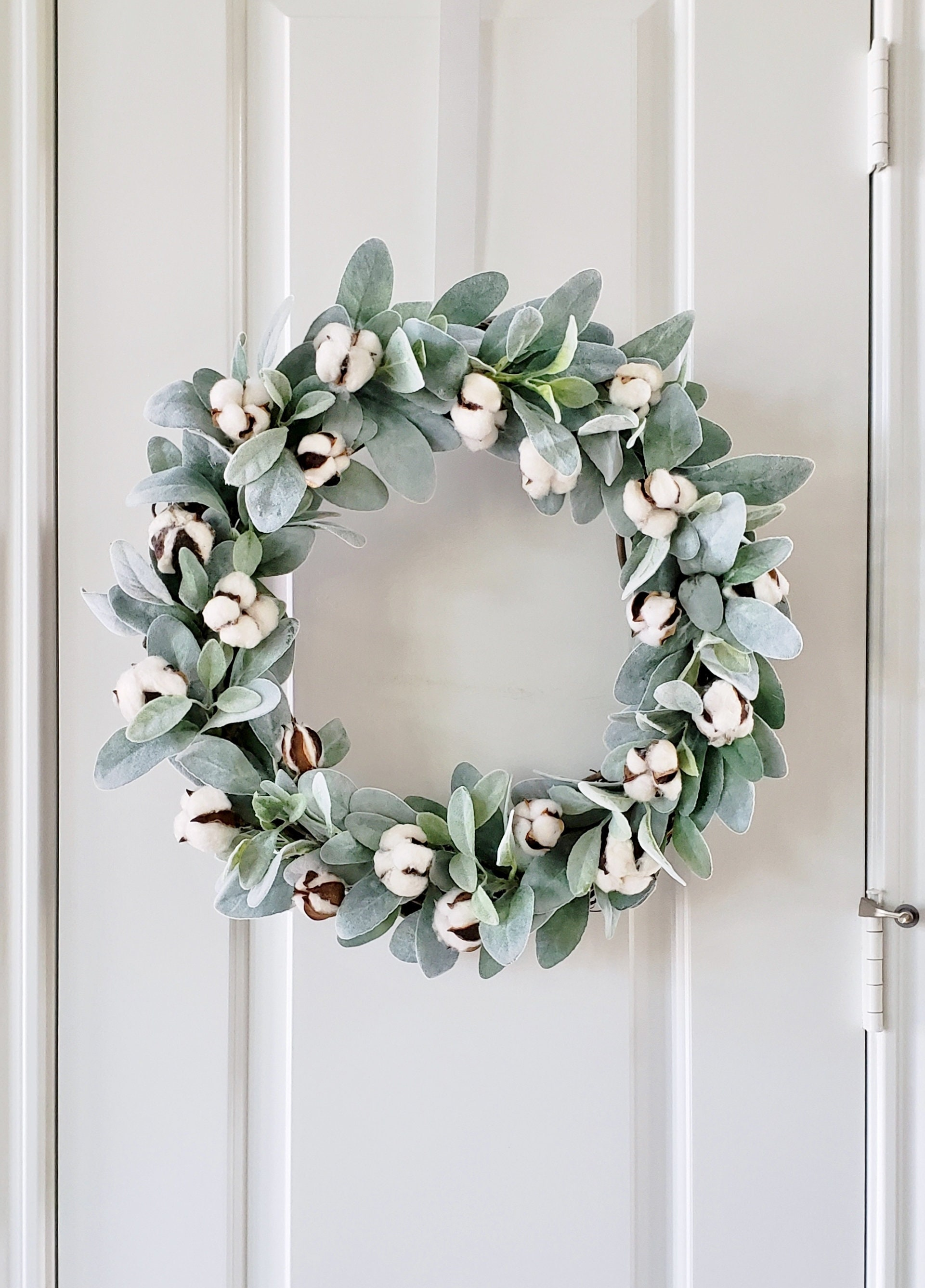 16 To 32 Inch Lamb S Ear Cotton Grapevine Wreath Farmhouse Wreath Door Wreath Monogram Wreath