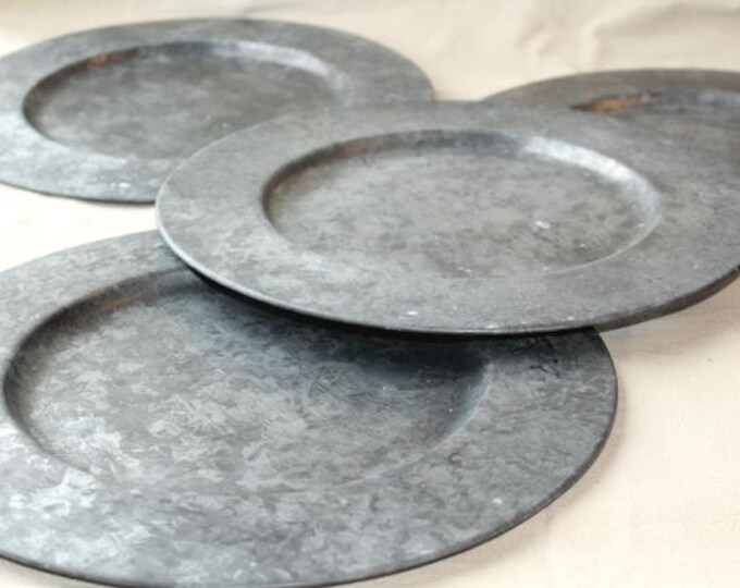 Galvanized Metal Plate Charger (Set of Three)