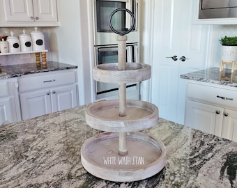 SMALL Round Rustic Wood 3 Tier Tray Stand. Wood Riser. Wood Stand. Wood Tray. Wood Pedestal.