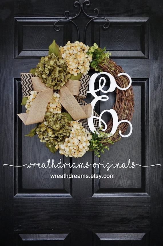 Door Wreath Grapevine Wreath. Summer Wreath Year Round Wreath Spring Wreath Sage Green /& White Hydrangea Wreath