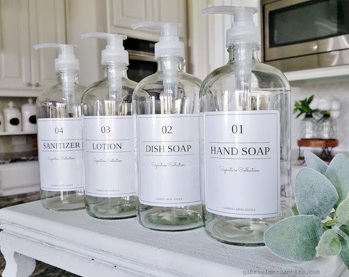ONE 16/32 oz Empty Glass Bottle Refill Dispenser with Pump & White Label | Hand Soap | Dish Soap | Refillable Bottle Dispenser