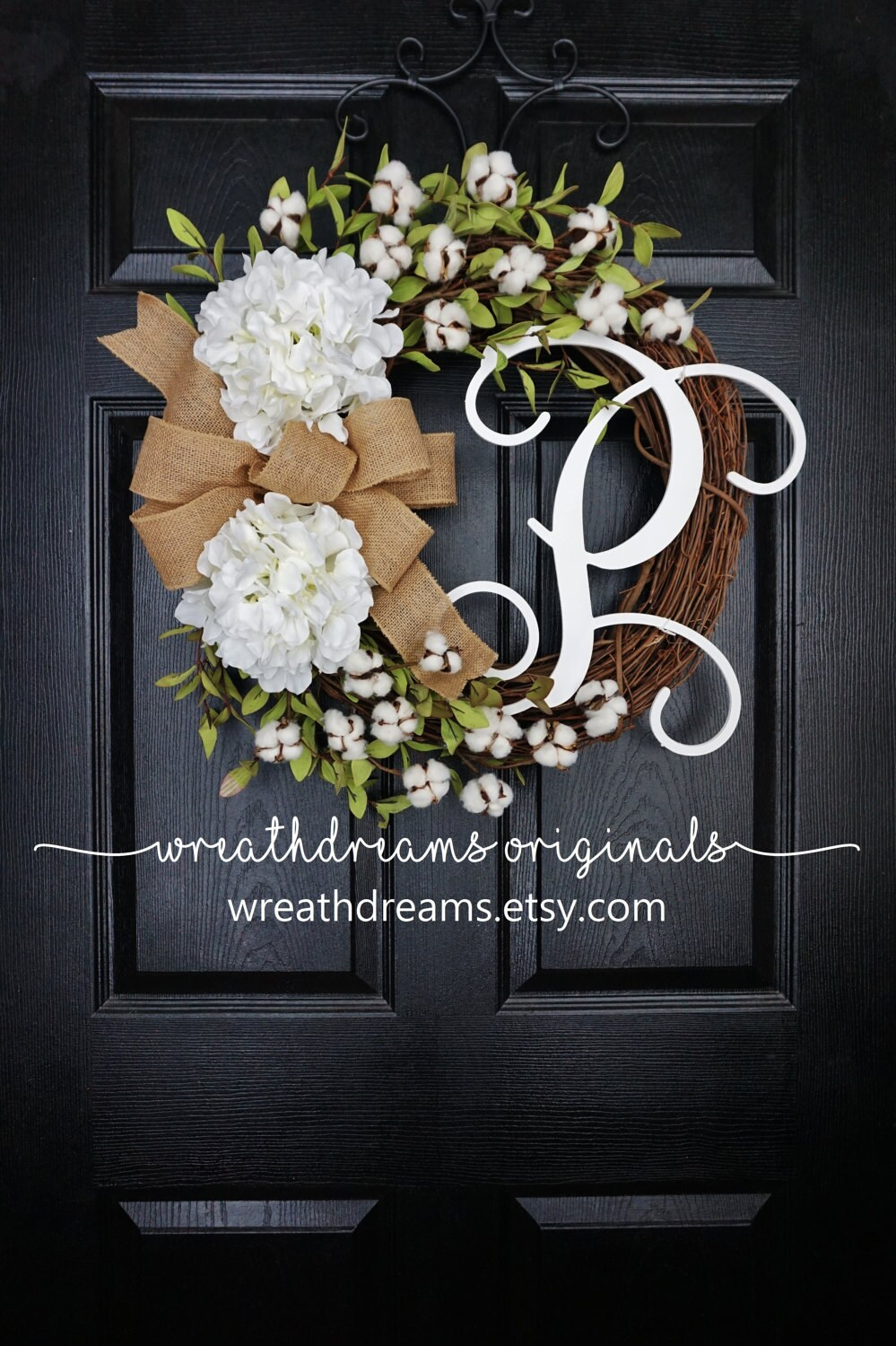 Cotton Grapevine Wreath Year Round Wreath Spring Wreath Summer Wreath Door Wreath Grapevine Wreath Artificial Wreath