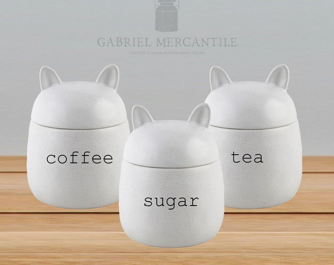 Custom 26 oz Off White Cat Shape Speckled Ivory Ceramic Canister. Farmhouse Jar. Kitchen Canister. Coffee. Tea. Sugar.