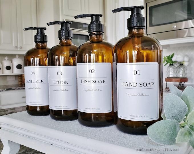 Set of FOUR 16/32 oz Empty Glass Bottle Refill Dispenser with Pump & White Label | Hand Soap | Dish Soap | Refillable Bottle Dispenser