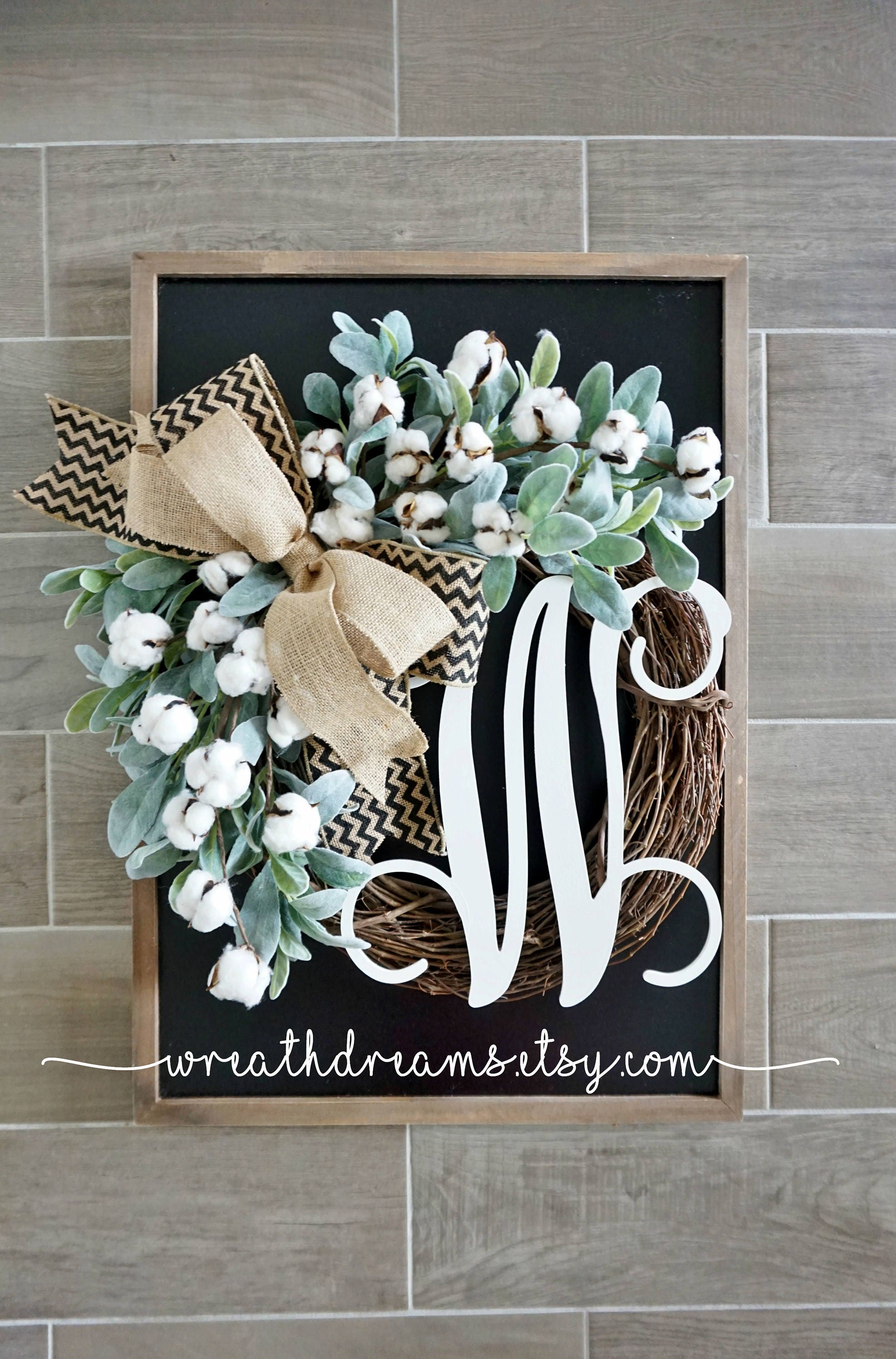 Cotton Lambs Ear Grapevine Wreath Year Round Wreath Spring Wreath Summer Wreath Door Wreath Grapevine Wreath