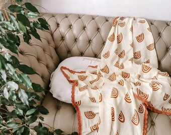 Eco Baby | Muslin Rainbow Swaddle Blanket | Baby Shower Gift | Gender Neutral Newborn Gift | Receiver Blanket