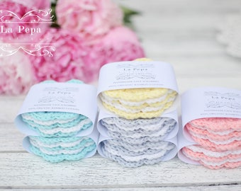Eco Chic | Organic Bamboo Cotton Zero Waste Crochet Face Scrubbies set of 5 | Eco-friendly, Reusable Face-Cloths, Eye make-up removers,