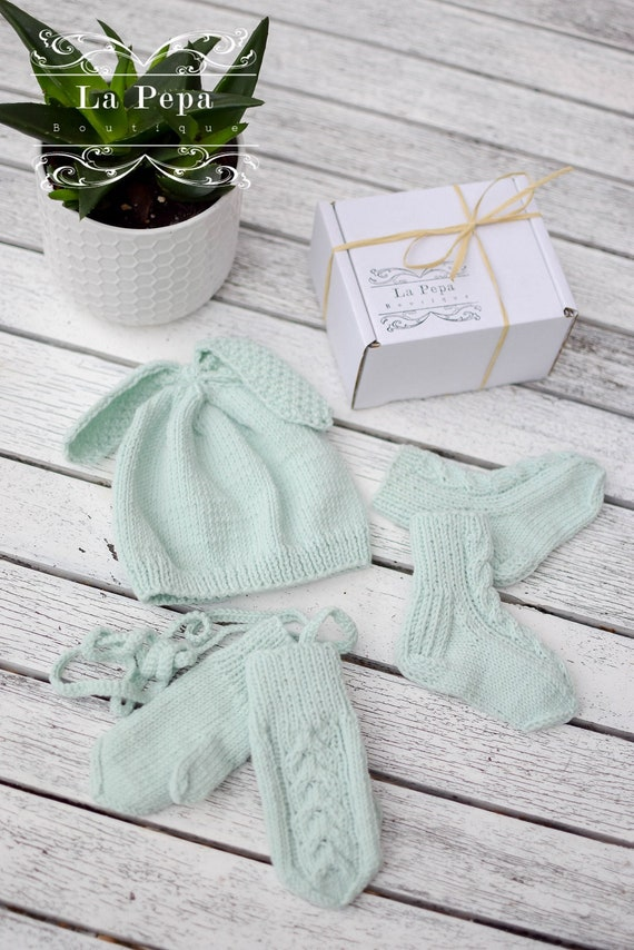 b20724924c5 Eco Baby Knitted Bunny Set 3-6 months Bunny Hat Socks and