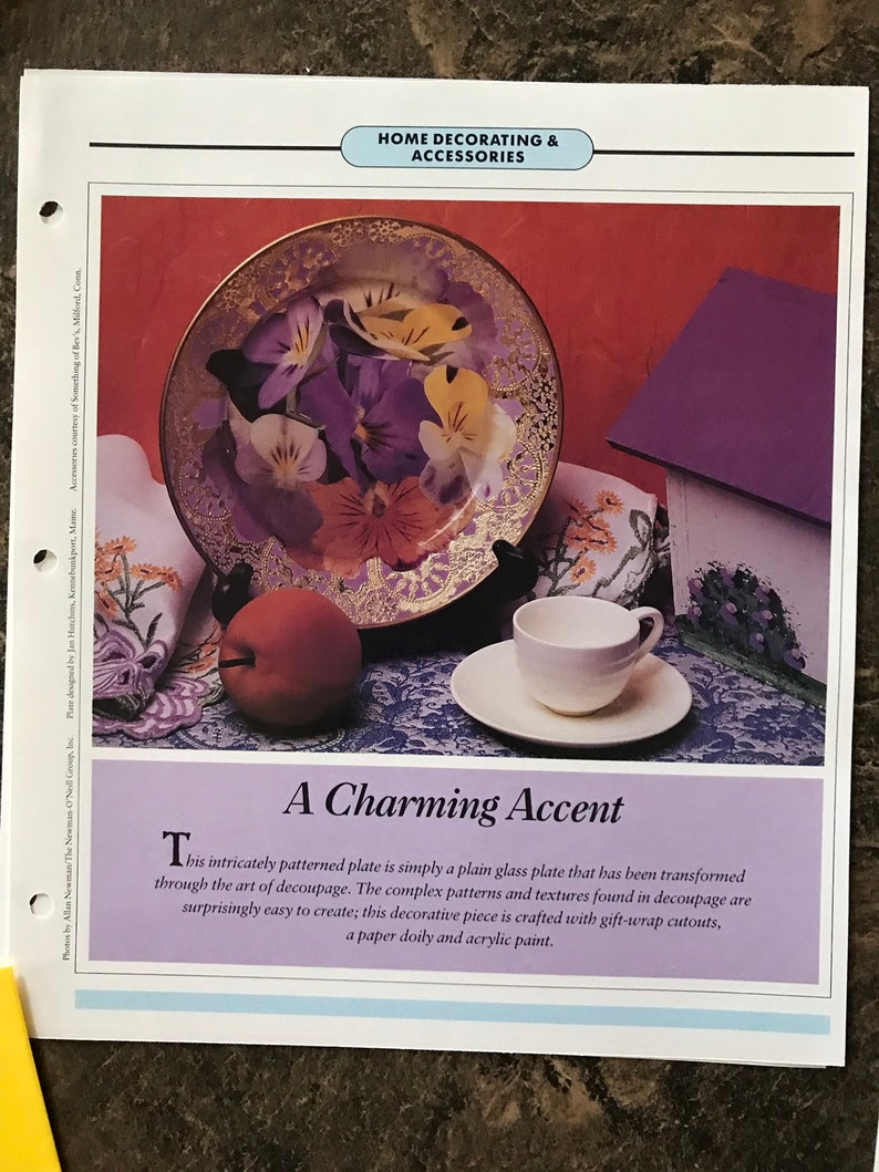 Vintage Craft Leaflet A Charming Accent Family Circle Weekend Crafts Decoupage Craft 1980s Era