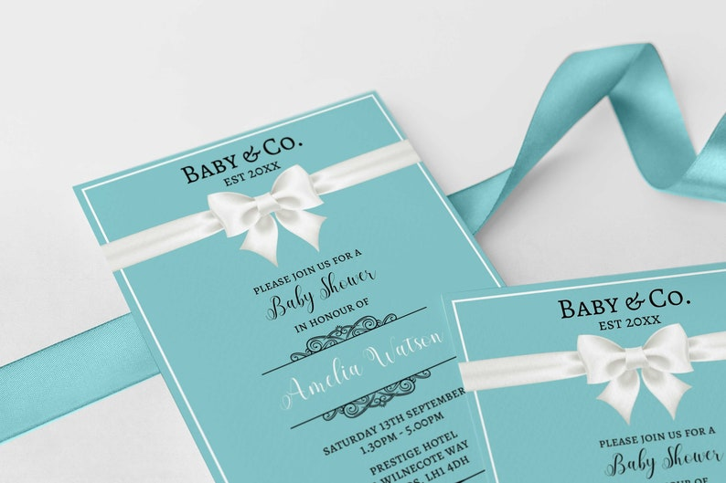 Tiffany Baby Shower Invitation Editable Template Instant Download 5 X 7 Co Breakfast At Tiffanys Inspired