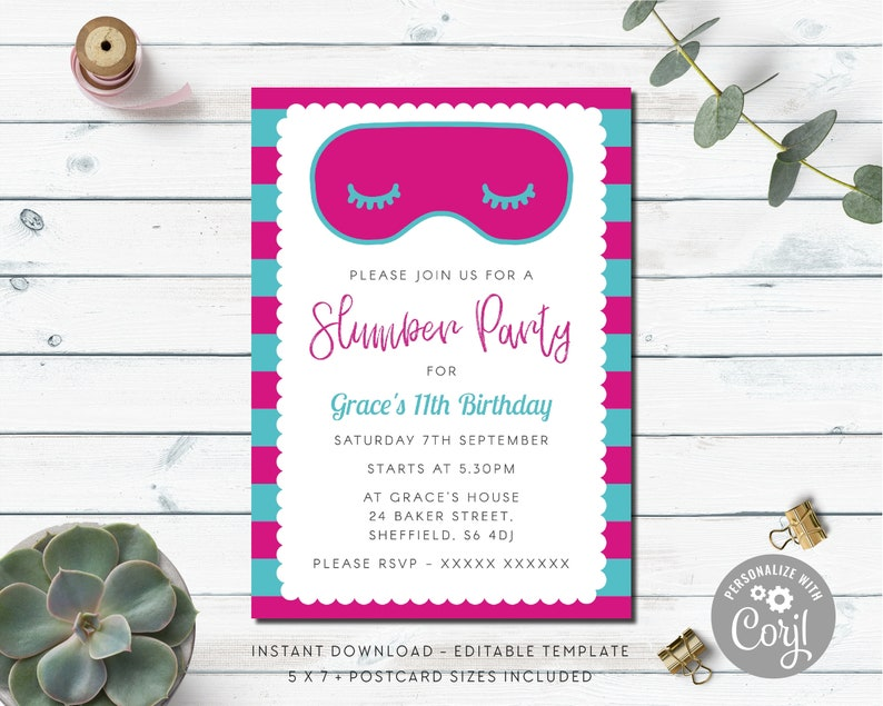 Sleepover Birthday Invitation Slumber Party Girls
