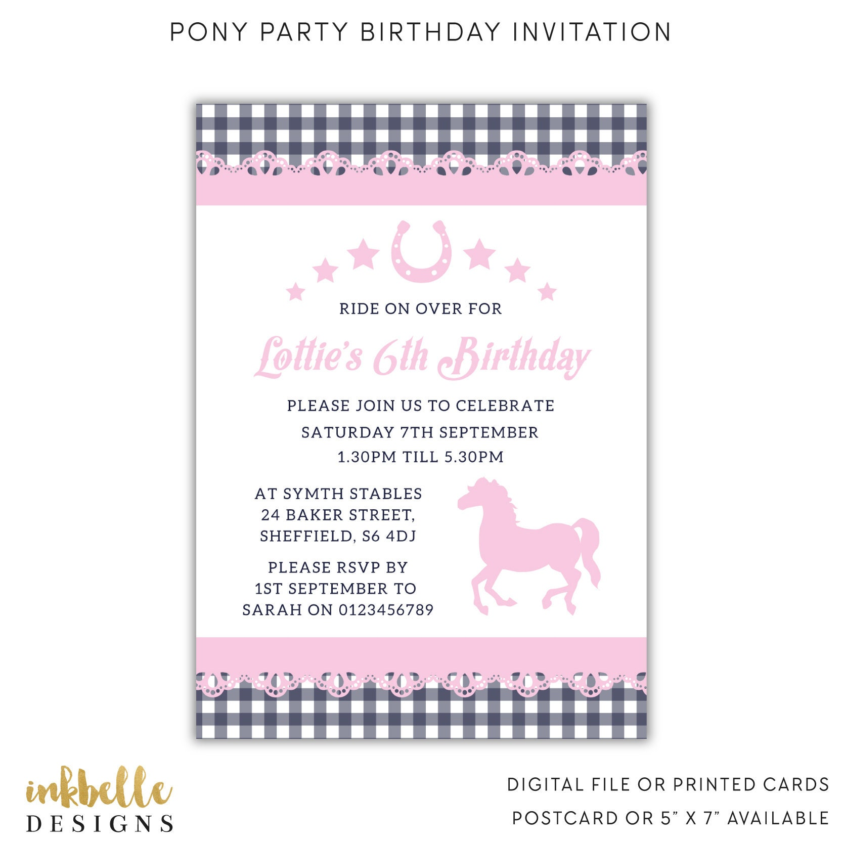Pony Birthday Invitation Printed Cards Digital File PDF | Etsy