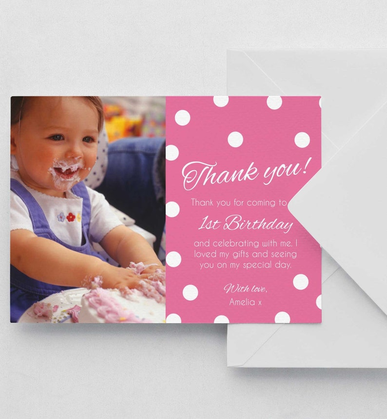 Birthday Thank You Card 1st Polka Dotted Note Editable Template Instant Download