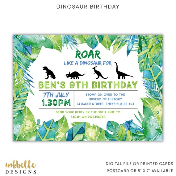 dinosaur birthday invitation printed cards digital file etsy