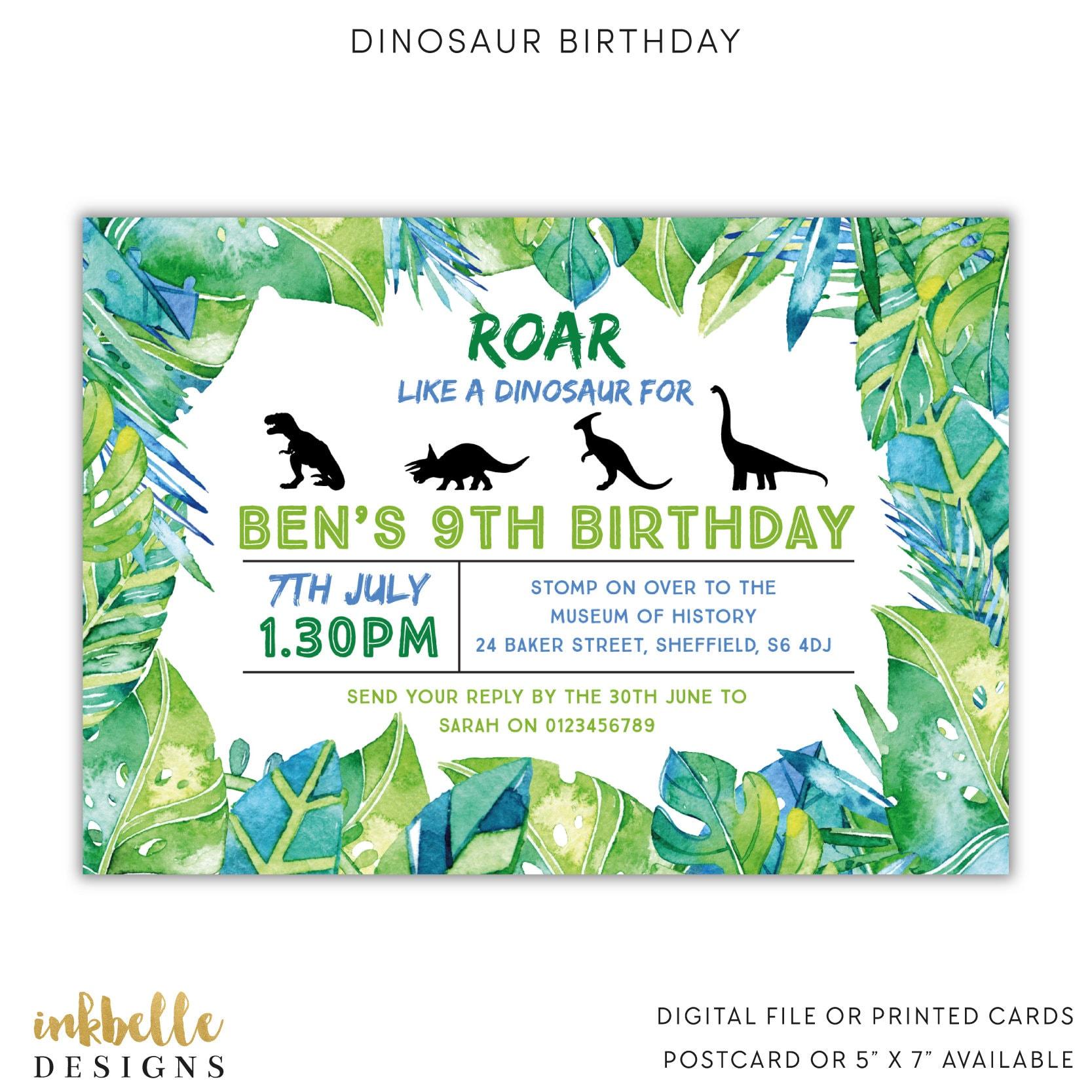 Dinosaur Birthday Invitation Printed Cards Digital File | Etsy