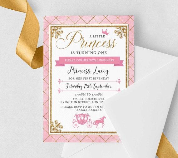 Princess 1st Birthday Invitation Editable Invitation Instant Download 5 X 7 Glitter Princess Watercolor Girls 1st Birthday Party Invitation