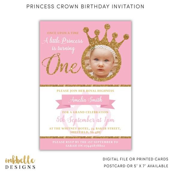 Princess Birthday Invitation 1st Birthday Invite Digital Etsy