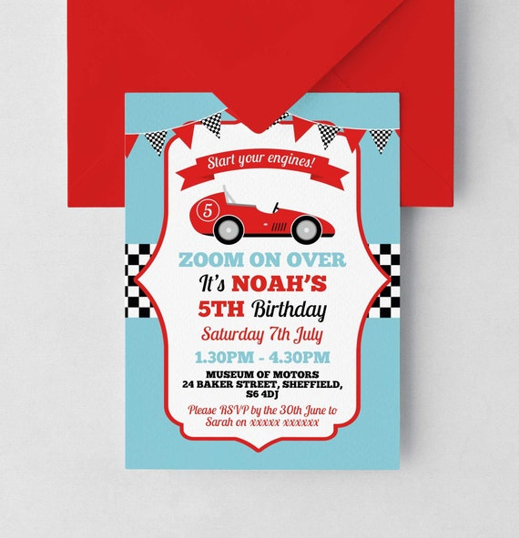 Race Car Birthday Invitation, Editable Invitation Instant Download 5 x 7  Racing Car Birthday Party Invitation, Boys Race Car Birthday Invite