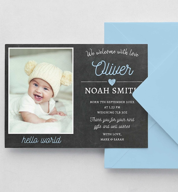 Photo Birth Announcement Template 5x7 invite - Baby Announcement baby no. 02 - Instant Download I/'m Here