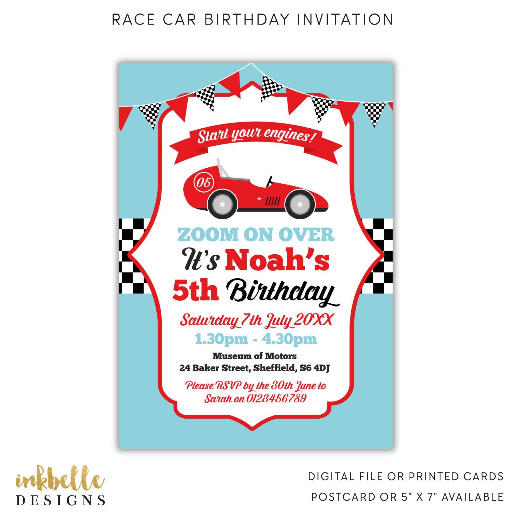 Race Car Birthday Invitation Printed Card Digital File PDF | Etsy