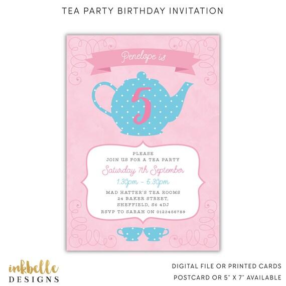 Tea Party Zaproszenie Urodziny Karty Drukowane Cyfrowy Plik Etsy