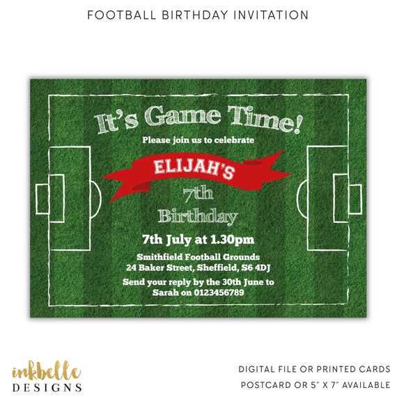 Football Birthday Invitation Printed Cards Digital File