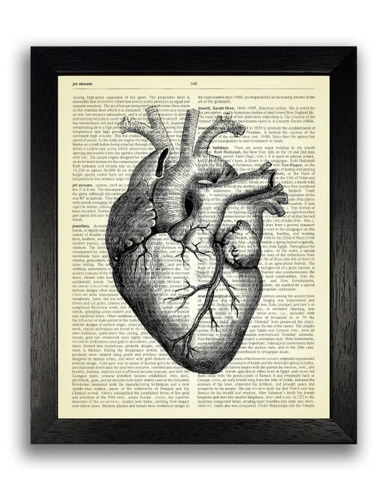 Black Heart Anatomy Art Print Cool Gothic Decal Anatomical Etsy