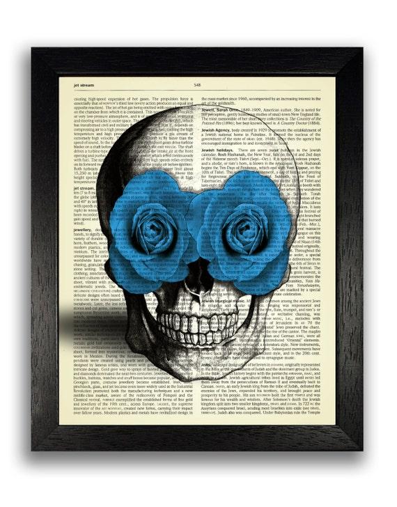 Dulce Calavera con rosas azules lámina Poster calavera | Etsy