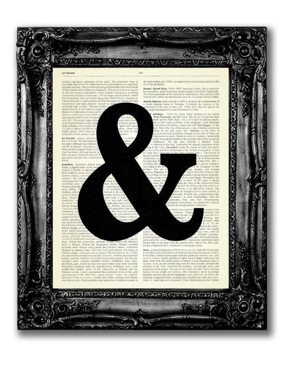 AMPERSAND Symbol Wall Decal Print, Home Wall Decor, And Sign Artwork Print  on Dictionary Page, Vintage Dictionary Art Sign, Dictionary Art