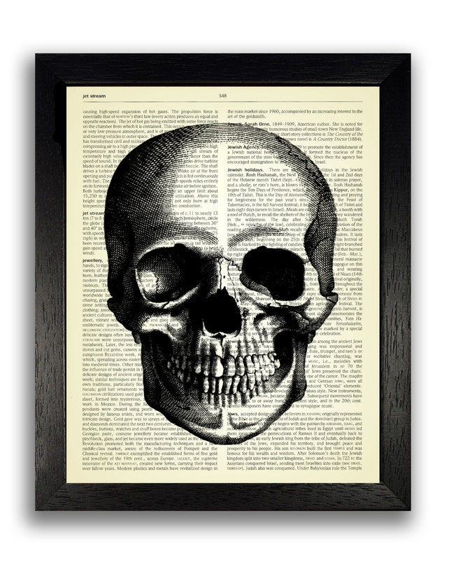 Impresión del arte del cráneo llano fresco decoración de la | Etsy