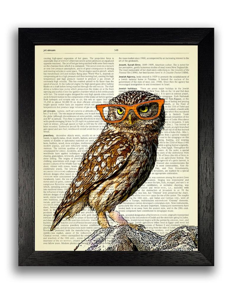 Anniversary gift vintage dictionary art Owl in orange glasses Owl dictionary print Kids bedroom poster Owl Artwork Animal Wall Decor