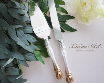 Personalized Gold  Wedding Cake Server Set & Knife Cake Cutting Set Wedding Cake Knife Set Wedding Cake Servers Wedding Cake Cutter