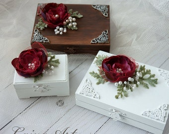 Wedding Ring Bearer Box  Wedding Ring Bearer Pillow Alternative Burgundy Wedding Ring Bearer Box Wedding