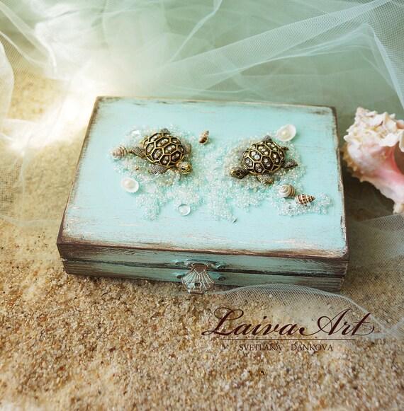 Beach Wedding Ring Bearer Pillow Box Rustic Ring Bearer Ring Etsy