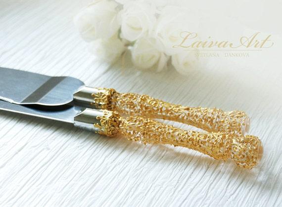 gold wedding cake server set knife gold wedding