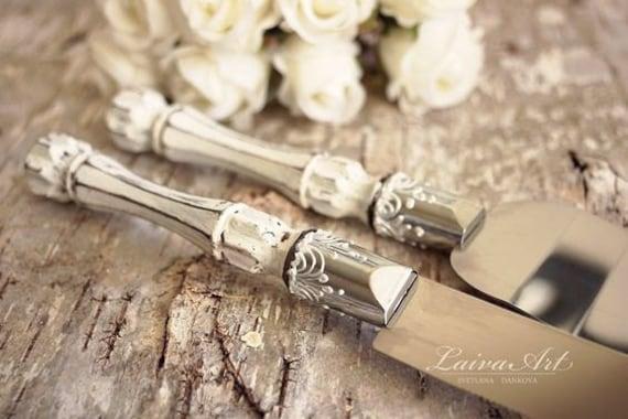 Rustic Wedding Cake Server Set Knife Cake Cutting Set Etsy