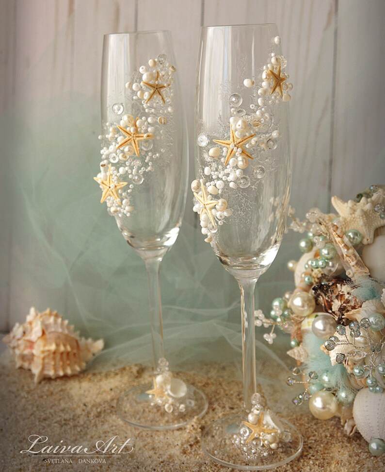 Personalized Beach Wedding Glasses Wedding Champagne Glasses image 0