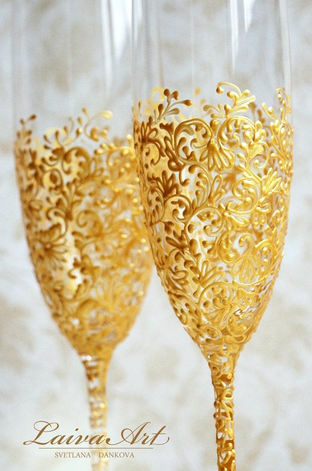 Gold Wedding Champagne Flutes Wedding Champagne Glasses Etsy