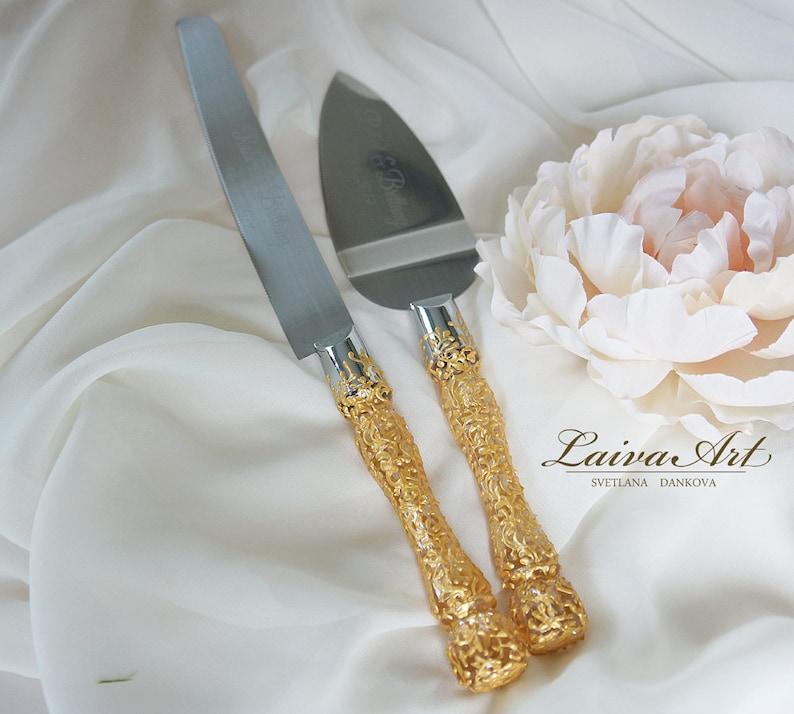 Gold  Wedding  Cake Server Set & Knife  Gold wedding  image 0