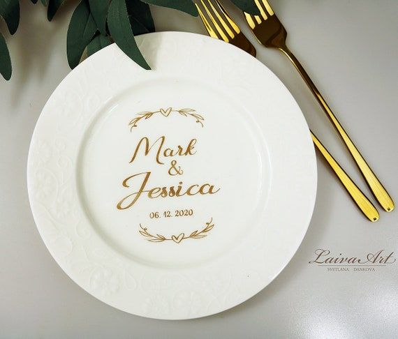 Wedding Set Custom Wedding Plate and Forks with Metal Branches Bling Wedding Decor Plate for the Wedding Mr and Mrs Forks and Plate Set