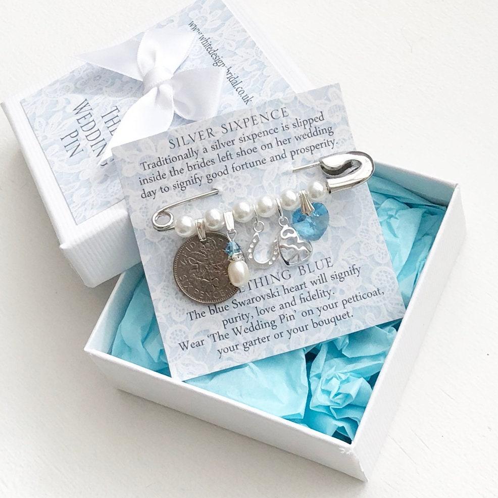 Braut Pin, Hochzeit Pin, Braut Geschenk, Sterling Silber, Brautdusche,  Silber Sixpence, etwas blau, Sixpence Geschenk für Braut, Herz Charme