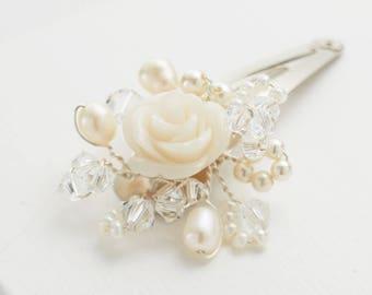 Flowergirl Bridesmaids Hair clip for Wedding. Swarovski Crystal and Pearl, childrens wedding hair accessories