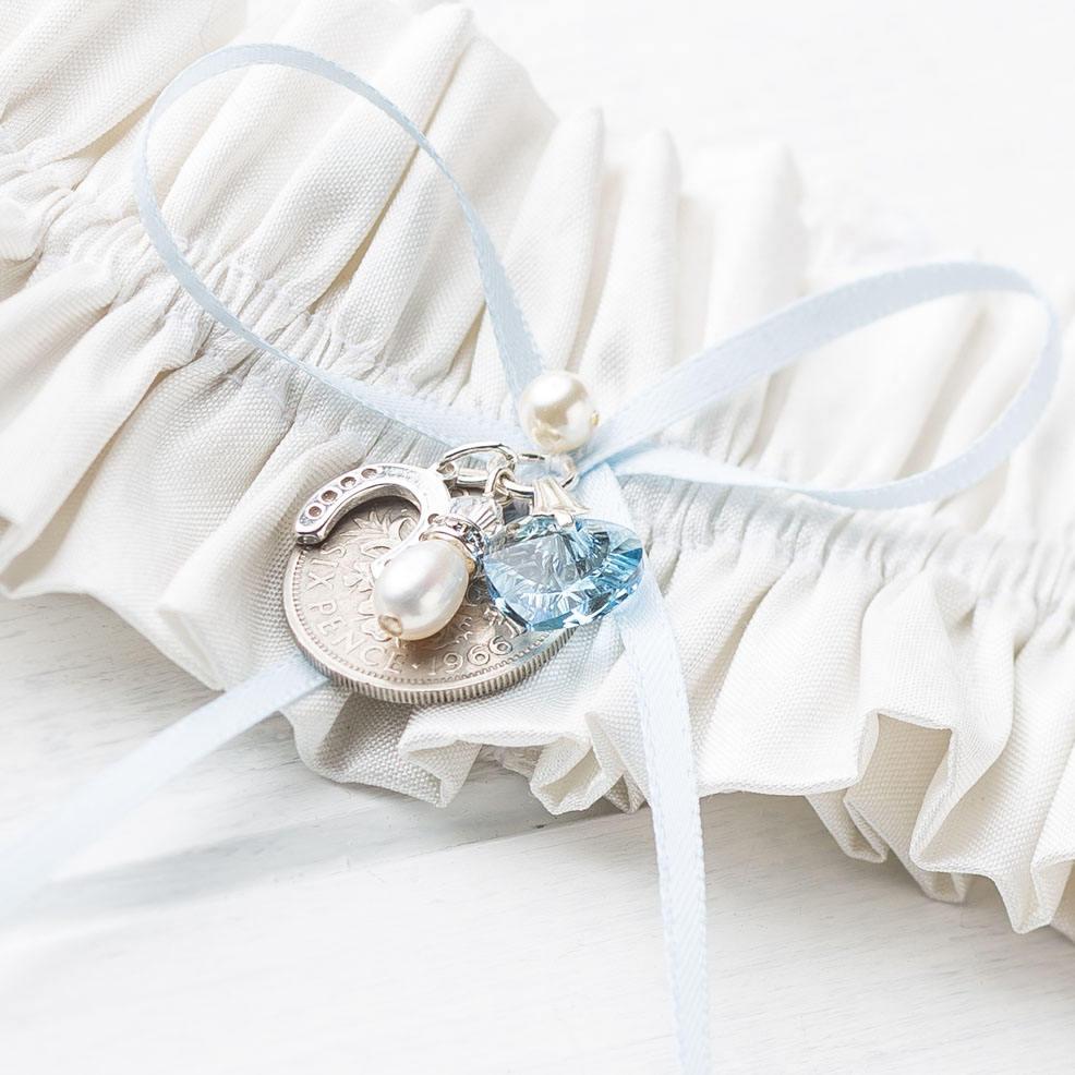 Blue Wedding Garter Uk: Silk Wedding Bridal Garter Lucky Sixpence Swarovski Blue