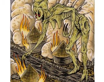 "Town of the Damned 11"" x 17"" Art Print, Fine Art Print, Lowbrow Art, Horror, Monster, Demon, Village, Destruction, Invasion"